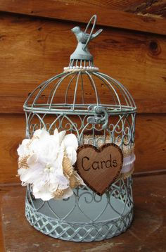 Wedding Bird Cage Card Holder For A Wedding, Birthday, Graduation, Anniversary, Bridal Shower, Baby Shower by MyMontanaHomestead