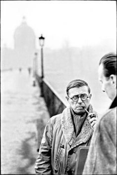 Jean Paul Sartre by Henri Cartier-Bresson, passerelle des Arts ( before love lockers mania...)