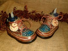Primitive Vintage Baby Shoes American Flag by AGEDCRACKLEPRIM