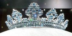 Art Deco Aquamarine Cartier tiara. One of the 27 Cartier tiaras made for the 1937 Coronation of George VI (GB).