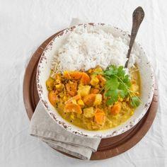 Vegan Korma, creamy curry with seasonal vegetables