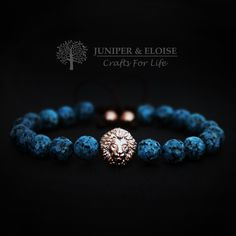 Lion Bracelet, Mens Bracelet , Rose Gold Lion head, Jewelry For Men and Women , Unisex Bracelet, Valentines Day Gift, Mothers Day Gift by JuniperandEloise on Etsy
