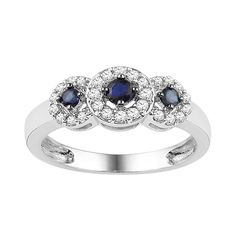 Fred Meyer Jewelers | 1/4 ct. tw. Diamond and Blue Sapphire 3-Stone Ring