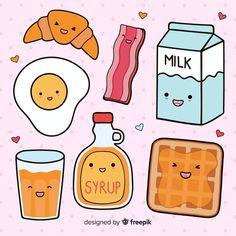 Cute Food Drawings, Mini Drawings, Cute Kawaii Drawings, Doodle Drawings, Food Drawing Easy, Cute Doodle Art, Cute Art, Kawaii Stickers, Cute Stickers