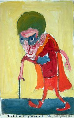 """Batipaquito "", gouache sobre papel, 24x 18 cm., year 1998"