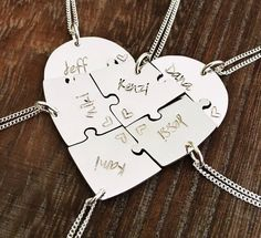 Hand engraved #heart #puzzles #necklaces, argentium #silver, #friendship, #family, BFF, #six, 6 pieces, #wedding, #graduation, farewell by InspiredByBronx on Etsy https://www.etsy.com/listing/539174729/hand-engraved-heart-puzzles-necklaces