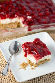 Cherry Delight - Modernly Morgan - - Cherry Delight Recipe- a yummy graham cracker crust with a middle layer of homemade whipped filling, all topped with a delicious layer of cherries! Cheesecake Recipe With Cream Cheese, No Bake Cherry Cheesecake, Cream Cheese Recipes, Cheesecake Recipes, Pie Recipes, Dessert Recipes, Recipies, Classic Cheesecake, Jello Recipes