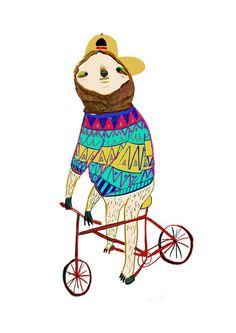 Sloth Biker by Ashley Percival. Illustration, art, print, kids, wall, decor, children's, design, sloth, bike, biking, fashion, designer,