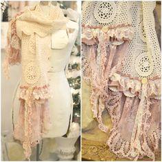 Romantic Shabby rose Crochet doily scarf by BlackRainCouture