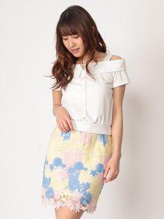 CECIL McBEE カラフル花柄レースタイトスカート