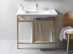 - Great sale on this modern Duravit DuraStyle ACC Towel Rail With Basin. Wooden Bathroom, Industrial Bathroom, Bad Inspiration, Bathroom Inspiration, Bathroom Collections, Home Collections, Interior Simple, Console Sink, Washbasin Design