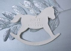 Rocking Horse - Personalized Baby's First Christmas ornament. This site has the cutest christmas ornaments.