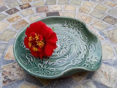 Ceramic Spoon Rest with Dahlia Carving in Teal