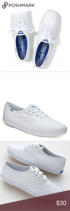 Keds Champion White canvas Brand new with original box, no defect, womens size 71/2, just sitting in my closet since I bought and it's too small for me now! Keds Shoes Sneakers