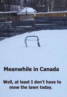 Meanwhile in Canada. ''Well, at least I don't have to mow the lawn today. Canadian Memes, Canadian Things, Canadian Army, Canadian Winter, Canadian Girls, Canadian Humour, Canadian History, Canada Funny, Canada Eh