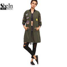 Shein womens dài áo giản dị cho quân đội mùa thu màu xanh lá cây pu da Vá Túi Zipper Đứng Cổ Áo Dài Tay Áo Cơ Bản Áo Khoác áo