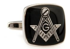 """Silver and Black Square Mason Masonic Symbol Cufflinks Cuff Links DGW Cufflinks. $33.88. Comes packaged in a Limited Edition Collectors Storage Box!. Approximately 3/4"""" x 1/2"""". Free Gift Wrapping with each order!"""