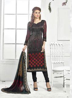 Black Wholesale Straight Salwar Kameez In Pashmina Fabric
