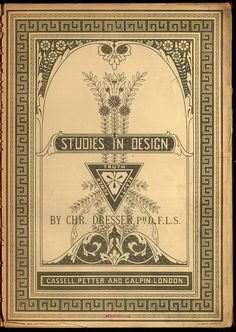 """Title page from """"Studies in design (1876)."""" by Christopher Dresser. ~ Great border designs!"""