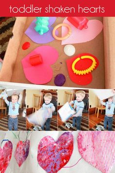 An active way for toddlers to make Valentine's Day art! So, literally, get moving and get creative.This Valentine's Day art is also a no-mess art activity!