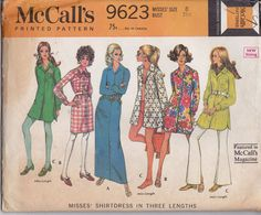 """1969 McCall's 9623 MIsses' Shirtdress in Three Lengths Pattern, UNCUT, Size 8, Bust 32 1/2"""", Vintage 1969, Cover Up, Retro, Dress"""