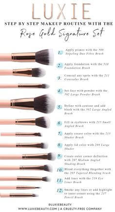 Luxie signature rose gold brush set 41 best ideas cleaning schedule blank meal planning blank cleaning ideas m blank cleaning cleaning makeup brushes essential oils Makeup Order, Make Makeup, Skin Makeup, Order To Apply Makeup, Doll Makeup, Makeup Geek, Makeup Kit, Makeup Tools, Rose Gold Brush Set