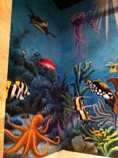 Underwater mural hidden hills Sea Murals, Ocean Mural, Ocean Art, Wall Murals, Underwater Room, Underwater Painting, Mural Painting, Paintings, Arte Coral