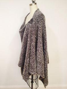 26f1ecf8d994e Items similar to Asymmetric Gray Plum Buckle Poncho, Avant Gard Cape, Wrap,  Shawl, Coat, Plus Size, One Size,Wool Blend Knit Fabric on Etsy