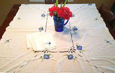 Embroidered Tablecloth with Appliqued Blue Flowers, Battenburg Lace, And Four Matching Napkins Vintage Linen, Vintage Farmhouse, Farmhouse Decor, Crochet Leaves, Hand Applique, Linen Napkins, Fashion Books, Vintage Gifts, Blue Flowers