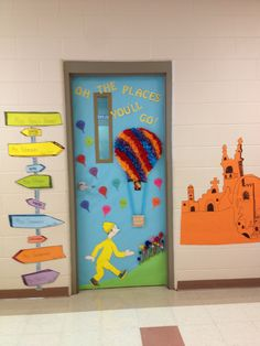 """Oh, the places you'll go"" classroom door."