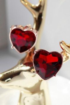 AdoreWe - Dezzal Ruby Heart Earrings - AdoreWe.com