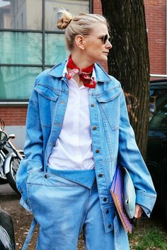 Denim jacket and trousers, with a red handkerchief