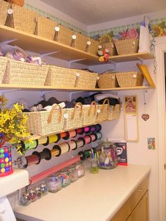 Amazing and Practical Craft Room Design Ideas and Inspirations Craft Room OrganizationCraft Room Organization Craft Room Storage, Craft Organization, Craft Rooms, Office Organisation, Organizing Crafts, Ribbon Organization, Storage Area, Organising, Closet Organization