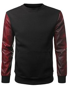 URBANCREWS Mens Hipster Hip Hop Alligator PU Sleeves Sweatshirt Pullover