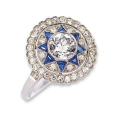 Art Deco diamond ring with sapphires