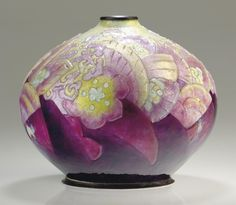CAMILLE FAURE (1872-1952) An Enameled Metal Vase, circa 1930 executed by Limoges 6¾ in. (17 cm.) high signed C Fauré Limoges