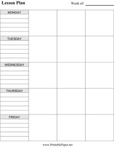 Lesson Plan Template Printable  Plan Well Organised Lessons Using