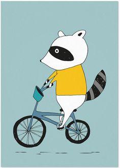 Studio Rainbow Prints - A5 Poster Wasbeer op fiets (blauw)