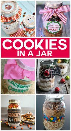 20 Yummy Cookies In A Jar (food jar ideas) Mason Jar Mixes, Mason Jars, Mason Jar Cookies, Pot Mason, Mason Jar Crafts, Cookie Jars, Mason Jar Cookie Mix Recipe, Cookie Mixes, Jar Gifts