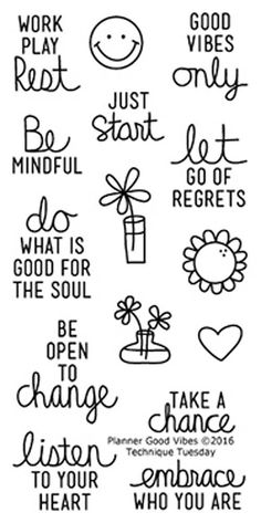 """TECHNIQUE TUESDAY: Planner Good Vibes (2"""" x 4"""" Clear Photopolymer Stamp Set) This clear photopolymer stamp set is perfect for planners, calendars, reminders, pocket scrapbooks and cards. Set measures"""