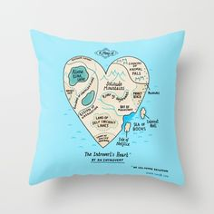 A Map of the Introvert's Heart Throw Pillow by Gemma Correll | Society6