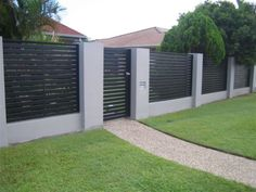 Startling Ideas: Front Fence Steel modern fence how to build.Wooden Fence With Lattice temporary fence privacy. Fence Landscaping, Backyard Fences, Fenced In Yard, Modern Landscaping, Yard Fencing, Brick Fence, Front Fence, Metal Fence, Wire Fence