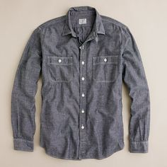 Grey chambray utility shirt J Crew