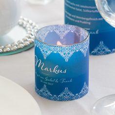 """Die #Windlichttischkarten """"Vintage Love"""" gibts für die Hochzeitsdeko auch in Blau."""