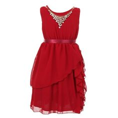 Pretty chiffon dress with an eye catchy style from Kiki Kids USA just for your little fashionista. The burgundy sleeveless gown features elegant multi layered chiffon skirt, a bodice with round neck embellished with a glitter necklace, elastic waist. The
