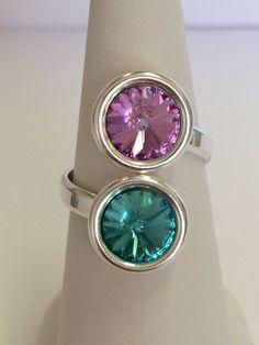 Bague réglable en argent 925 double cabochon Swarovski Element Light turquoise et Crystal Vitrail Light : Bague par manava-creation