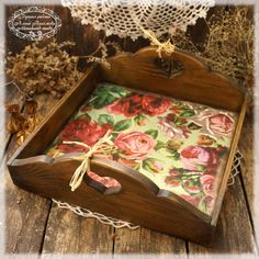 """Items similar to Vintage look Wood Serving Tray , Wooden tray """"Vintage Rose Josie"""" ,serving tray ,wood serving tray on Etsy Small Woodworking Projects, Wood Projects, Shabby Chic Kitchen Accessories, Wood Crafts, Diy And Crafts, Basket Tray, Serving Tray Wood, Vintage Roses, Cool Things To Make"""