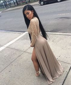 prom looks 2019 Sheer Sequins Long Sleeves Prom Dress Sexy High Slits Party Dress Black Girl Prom Dresses, Black Dress Outfits, Cute Prom Dresses, Prom Dresses Long With Sleeves, Prom Outfits, Homecoming Dresses, Sexy Dresses, Girls Dresses, Long Slit Dress