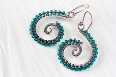 Emerald green earrings wire wrapped copper by CookOnStrike on Etsy, $22.00