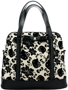 Loungefly Hello Kitty Black   Cream Floral Bag  77228b4f54a26